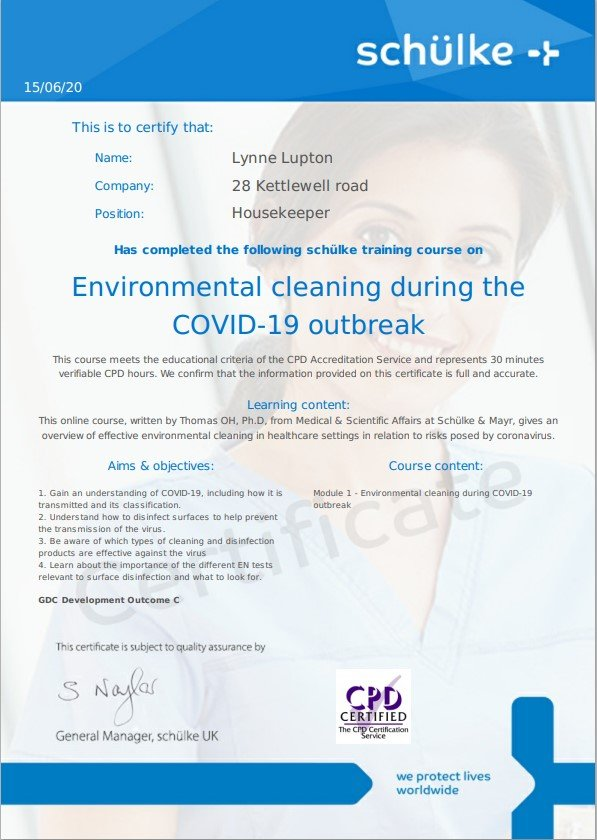 Covid 19 Cleaning Certificate
